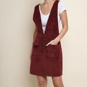 Dresses & Skirts - Wine Corduroy Deep V Overall Dress